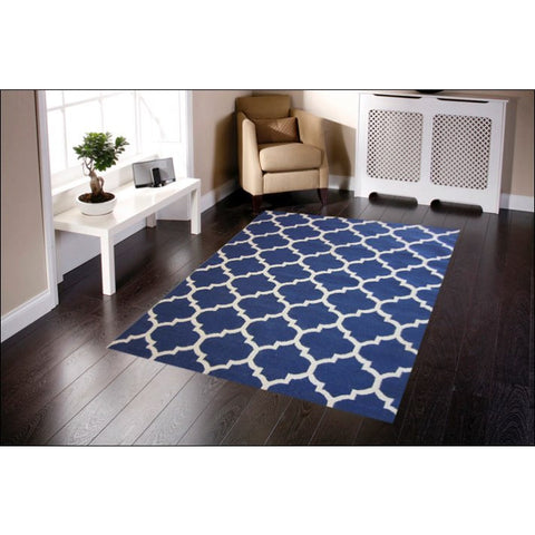 Handwoven Woollen Durrie Rug - Sweden 468 - Navy - Rugs Of Beauty