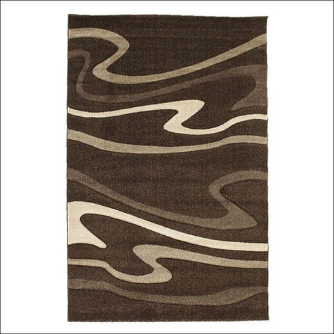 Modern Swirls Rug Dark Brown - Rugs Of Beauty - 1