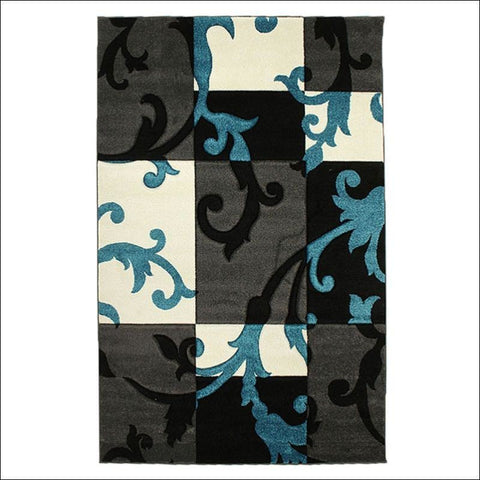 Squares and Vines Rug Charcoal Blue - Rugs Of Beauty - 1