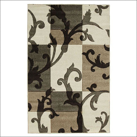 Squares and Vines Rug Beige Brown - Rugs Of Beauty - 1