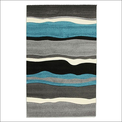 Stunning Thick Wave Rug Blue Grey Rugs Of Beauty