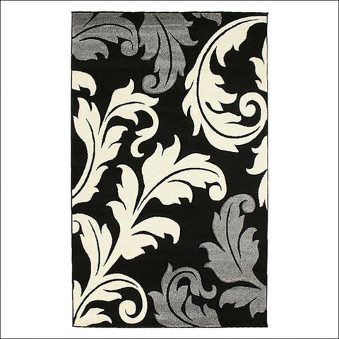 Damask Leaf Design Rug Black Grey - Rugs Of Beauty - 1