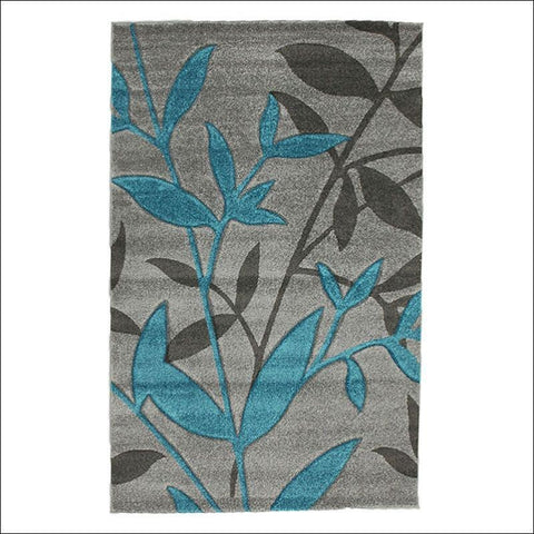 Stunning Spring Leaf Designer Rug Grey Blue - Rugs Of Beauty - 1