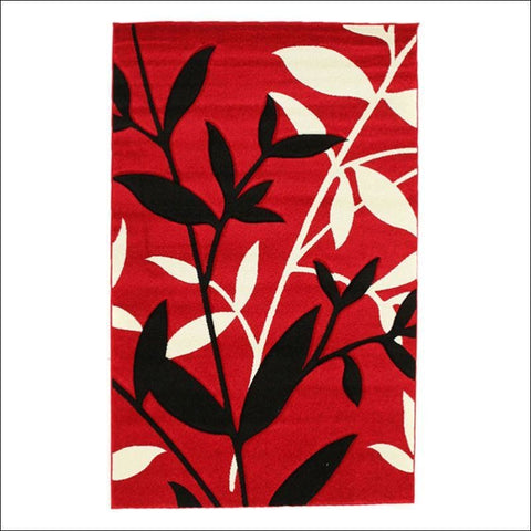 Stunning Spring Leaf Rug Red Black - Rugs Of Beauty - 1