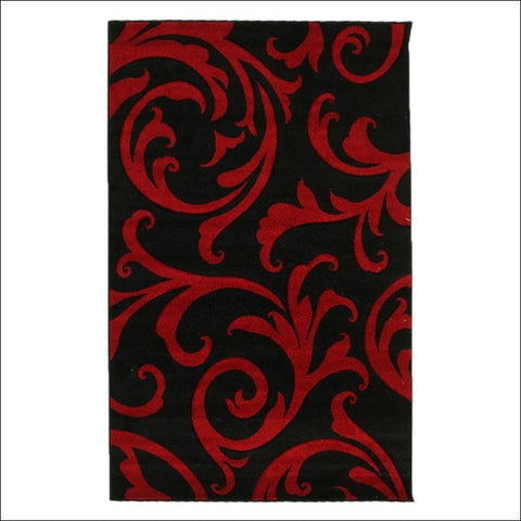 Stunning Thick Damask Rug Black - Rugs Of Beauty - 1