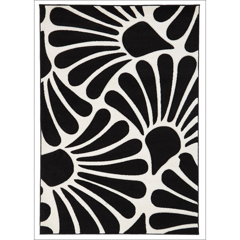 Damask Modern Fern Rug Black White - Rugs Of Beauty - 1