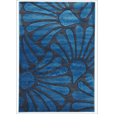 Damask Modern Fern Rug Blue Charcoal - Rugs Of Beauty - 1