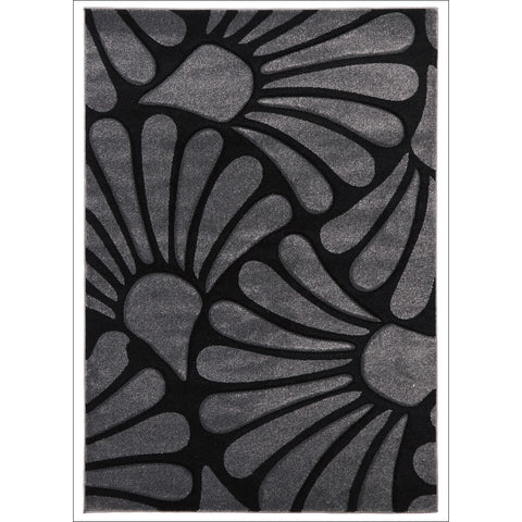 Damask Modern Fern Rug Charcoal Black - Rugs Of Beauty - 1
