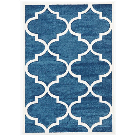 Large Modern Trellis Rug Blue - Rugs Of Beauty - 1