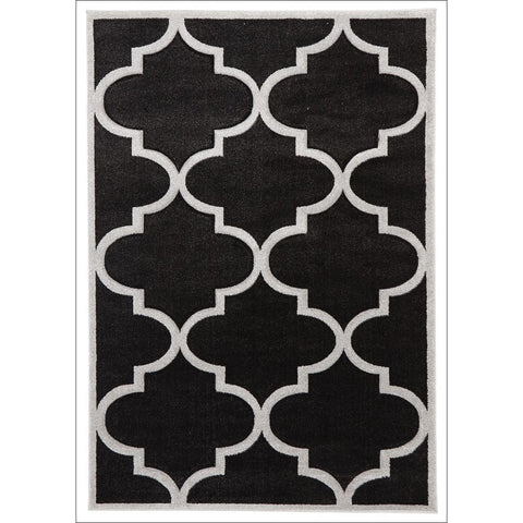 Large Modern Trellis Rug Charcoal - Rugs Of Beauty - 1