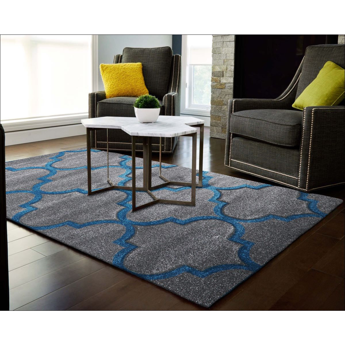 Modern Rug Grey with Blue Trellis Pattern and Border – Rugs