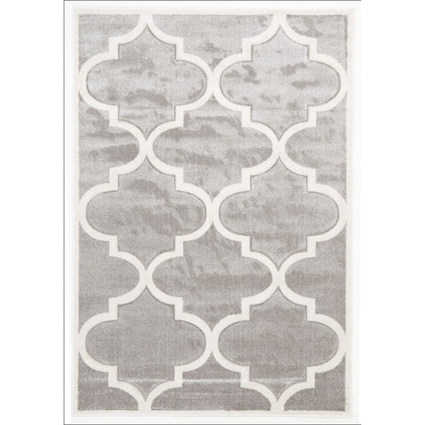 Large Modern Trellis Rug Silver - Rugs Of Beauty - 1
