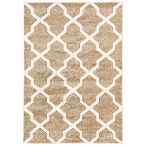 Cross Hatch Trellis Modern Rug Beige - Rugs Of Beauty - 1