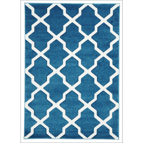 Cross Hatch Trellis Modern Rug Blue - Rugs Of Beauty - 1