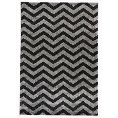 Modern Chevron Design Rug Charcoal - Rugs Of Beauty - 1