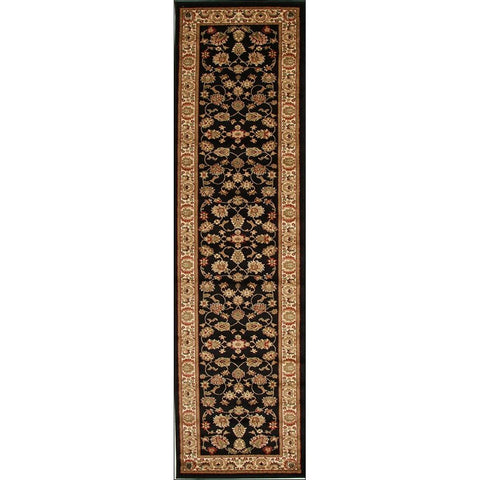 Lafia 752 Black Traditional Floral Pattern Runner Rug - Rugs Of Beauty - 1