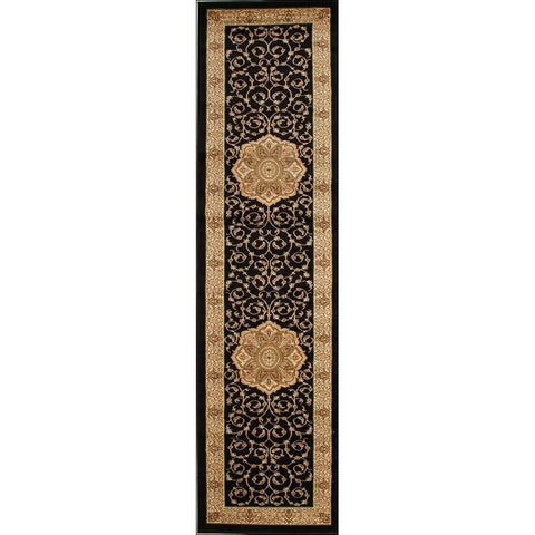 Lafia 751 Black Traditional Pattern Runner Rug - Rugs Of Beauty - 1