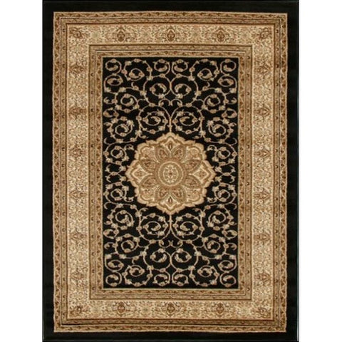 Medallion Classic Pattern Traditional Rug Black - Rugs Of Beauty