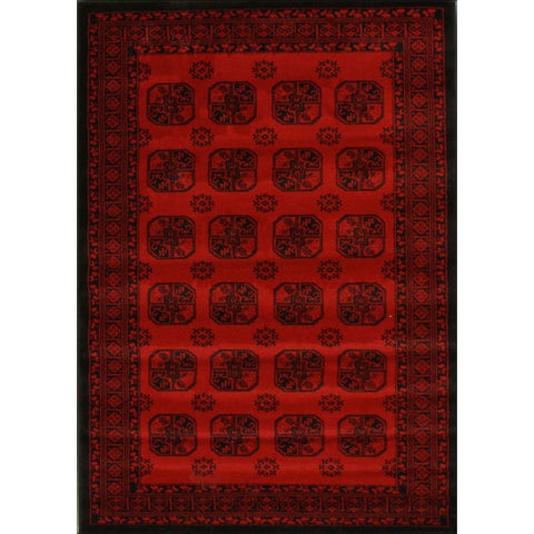 Classic Afghan Pattern Traditional Rug Red - Rugs Of Beauty - 1