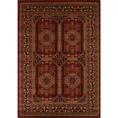 Traditional Afghan Design Rug Burgundy Red - Rugs Of Beauty - 1