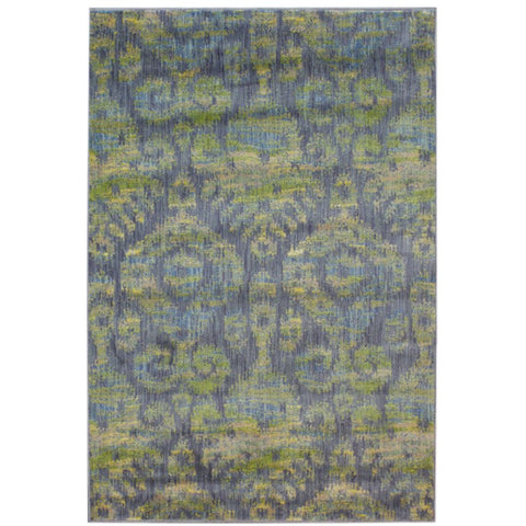 Eden Blue, Lime Green and Beige Transitional Patterned Rug - Rugs Of Beauty