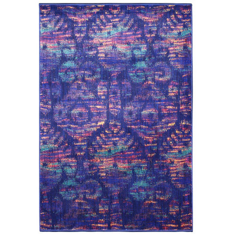 Eden Blue and Multi Coloured Transitional Patterned Rug - Rugs Of Beauty