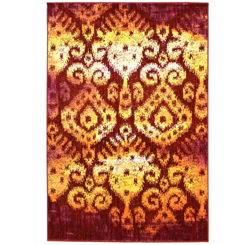 Eden Yellow, Beige, Pink, Crimson, Red and Multi Coloured Transitional Patterned Rug - Rugs Of Beauty
