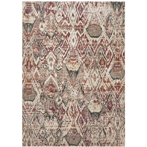 Amunet Red Blue Rust Multi Coloured Faded Transitional Patterned Rug - Rugs Of Beauty - 1