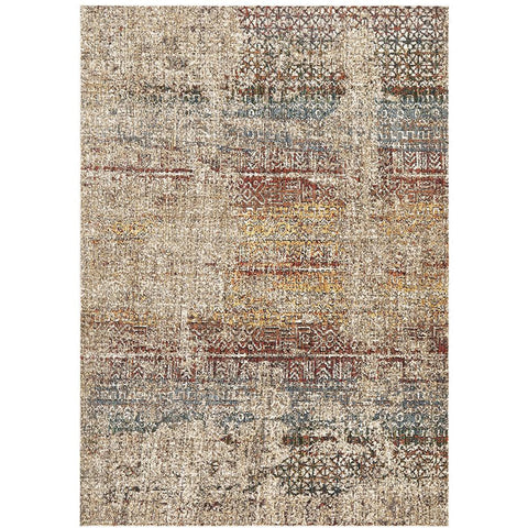 Amunet Red Blue Rust Stripe Multi Coloured Faded Transitional Patterned Rug