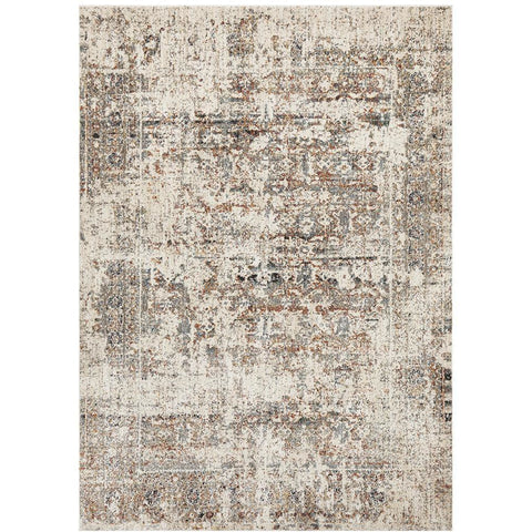 Amunet Grey Blue Border Multi Coloured Faded Transitional Patterned Rug - Rugs Of Beauty - 1