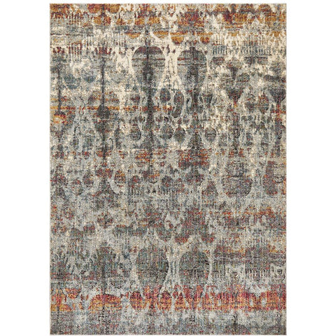 Amunet Blue Grey Rust Multi Coloured Faded Transitional Patterned Rug - Rugs Of Beauty - 1