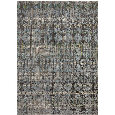 Amunet Blue Aqua Taupe Multi Coloured Faded Transitional Patterned Rug - Rugs Of Beauty - 1