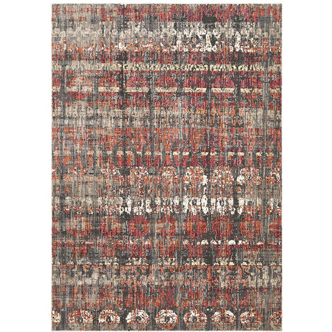 Amunet Red Rust Blue Multi Coloured Faded Transitional Patterned Rug - Rugs Of Beauty - 1