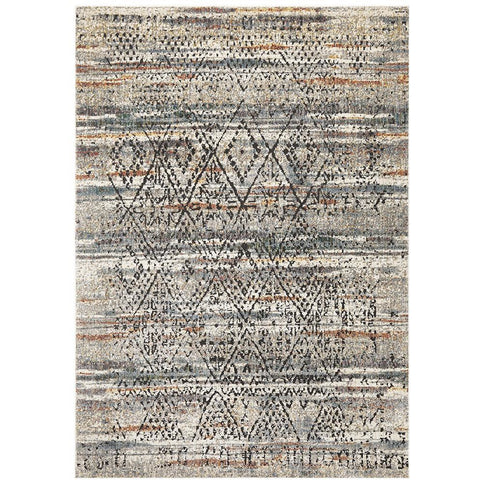 Amunet Grey Multi Coloured Faded Transitional Trellis Stripe Patterned Rug - Rugs Of Beauty - 1