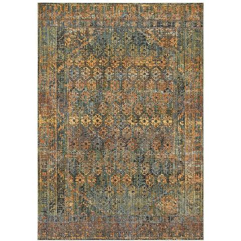 Amunet Blue Rust Multi Coloured Border Faded Transitional Patterned Rug - Rugs Of Beauty - 1