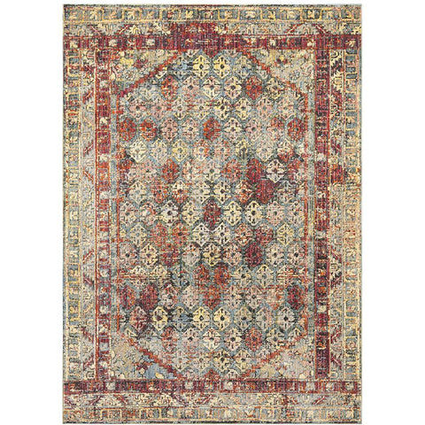 Amunet Red Multi Coloured Faded Transitional Patterned Border Rug - Rugs Of Beauty - 1