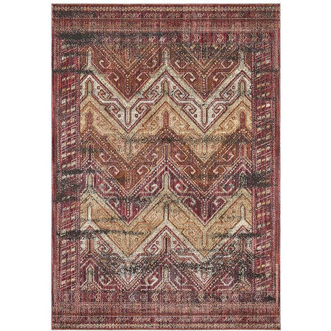 Amunet Red Multi Coloured Faded Transitional Chevron Border Patterned Rug - Rugs Of Beauty - 1