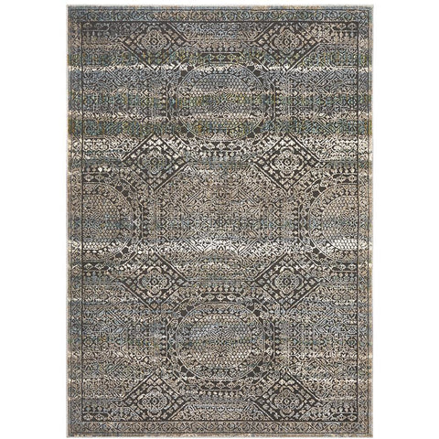 Amunet Blue Multi Coloured Faded Transitional Geometric Patterned Rug - Rugs Of Beauty - 1