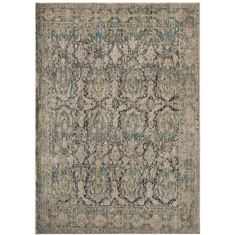 Amunet Green Beige Multi Coloured Faded Transitional Border Patterned Rug - Rugs Of Beauty - 1