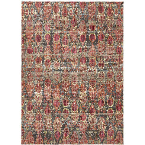 Amunet Red Blue Wash Multi Coloured Faded Transitional Patterned Rug - Rugs Of Beauty - 1