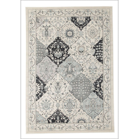 Persian Panel Transitional Design Rug Blue Navy Bone - Rugs Of Beauty