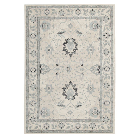 Nain Persian Transitional Design Rug Bone Blue Navy - Rugs Of Beauty