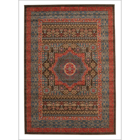 Antique Heriz Transitional Design Rug Brown Red Blue - Rugs Of Beauty - 1