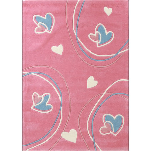 Lille Joyful Hearts Pink Rug - Rugs Of Beauty - 1