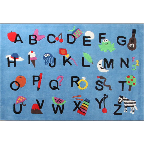 Cool Alphabet Rug Blue - Rugs Of Beauty