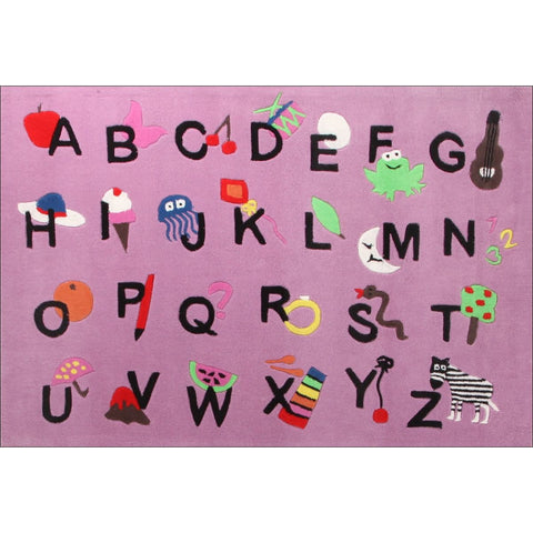 Cool Alphabet Rug Pink - Rugs Of Beauty