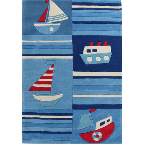 Super Fun Ships and Boats Rug Blue - Rugs Of Beauty
