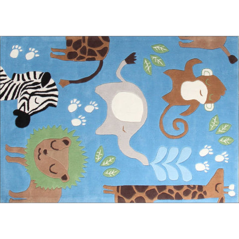 Awesome Kids Jungle Animals Nursery Rug Blue - Rugs Of Beauty