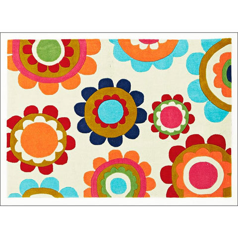 Bright Poppies Rug Light Mint - Rugs Of Beauty