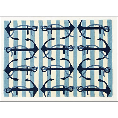 Nautical Anchors Rug Blue White - Rugs Of Beauty